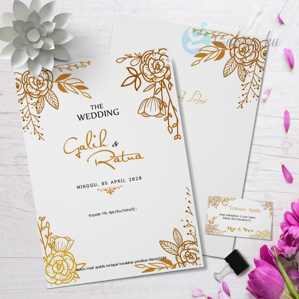Undangan Pernikahan Motif Gold Emas Cantik Elegant Mewah Simple Murah Cepat Tebal Shopee Indonesia