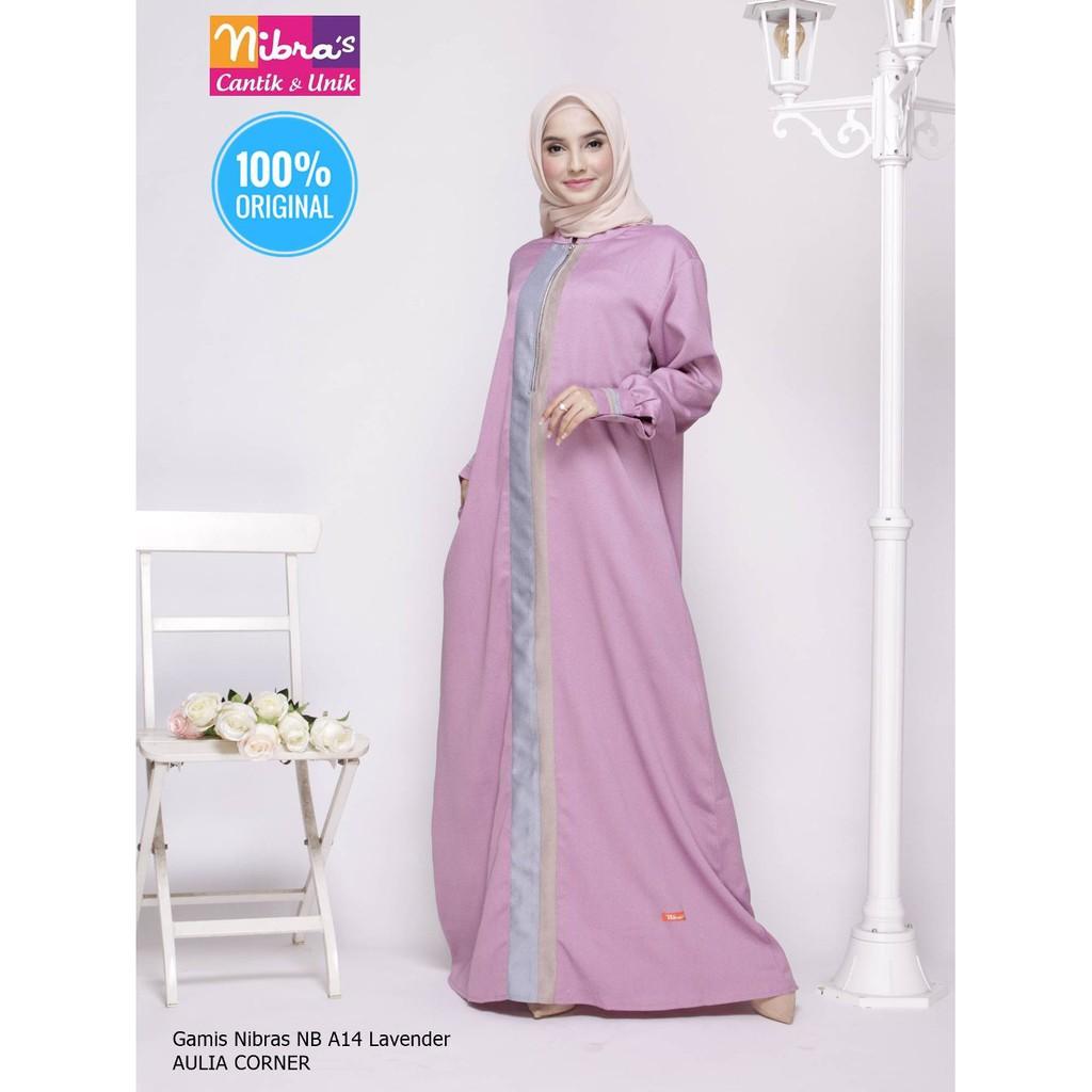 Desain Elegan Gamis Terbaru Nibras NB A11 Lavender ORIGINAL Model Gamis  Wanita Gemuk Dan Pendek