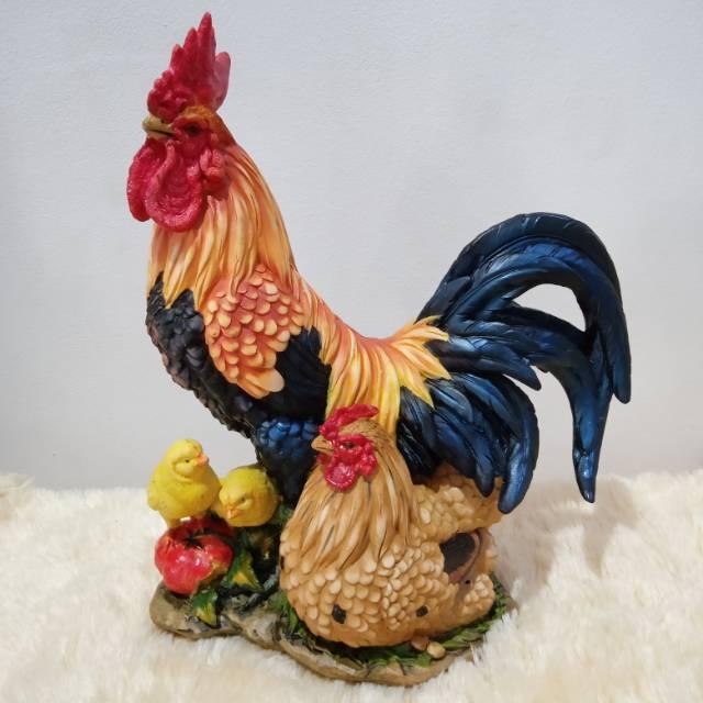 Patung Pajangan Ayam Jantan Betina Sedang Shopee Indonesia