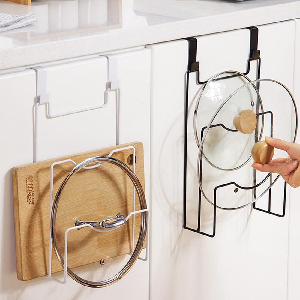 Iron Pot Cover Shelf Kitchen Cupboard Door Hanging Pan Lid Holder