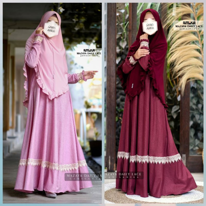 Gamis Amika Mazaya Daily With Lace Gamis Only Shopee Indonesia