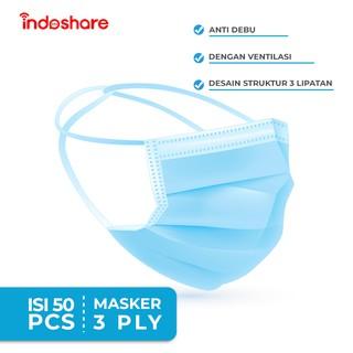 Indoshare Masker Headloop 3ply untuk Hijab 1box Isi 50pcs ...