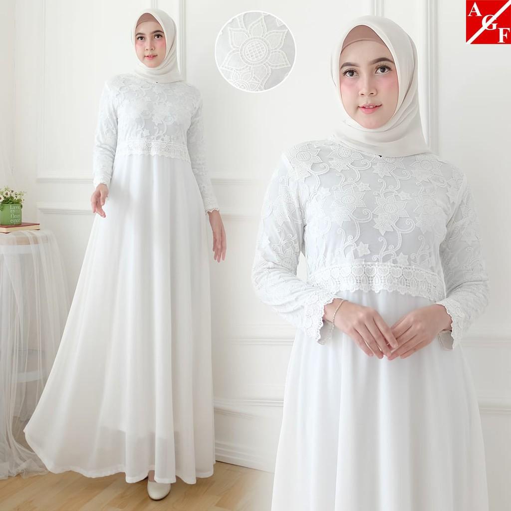Baju Gamis Wanita Dewasa / Syari Putih Lebaran Umroh Haji / Busana Muslim  Wanita Terbaru #10 STD