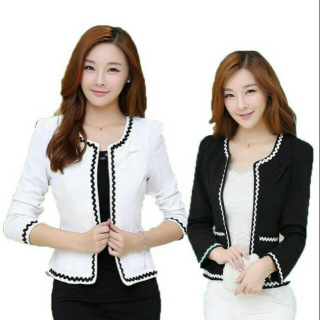 Blazer Wanita Kantor Kerja Santai Linda Warna Hitam dan Putih Size S-M-L ebb8c9e78f