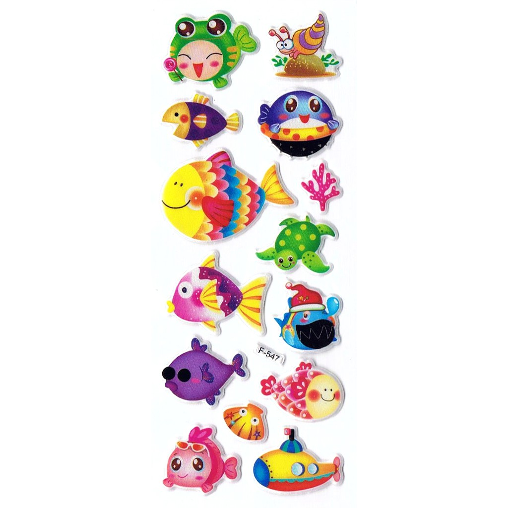 SK517 Stiker Sticker Timbul Set Strip Aneka Gambar Kartun Ikan Fish