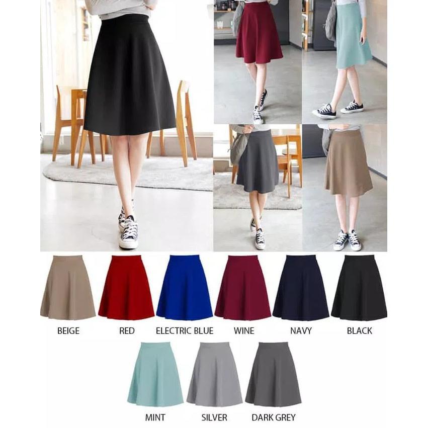 ffb53d558d9d43 Lucu Rok Mekar   Flare Skirt A Line Midi Panjang Bawahan Wanita Korea Impor  Hot Sale