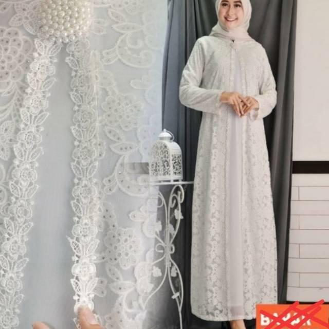 Busana Muslim Wanita Gamis Wanita Baju Lebaran Gamis Brokat Putih Busana Muslim Putih Shopee Indonesia