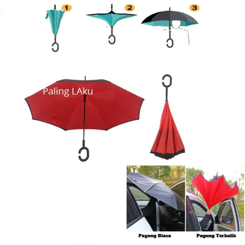 Payung Terbalik Kazbrella 01 Gagang C Reverse Umbrella Lipat Mobil   Shopee Indonesia