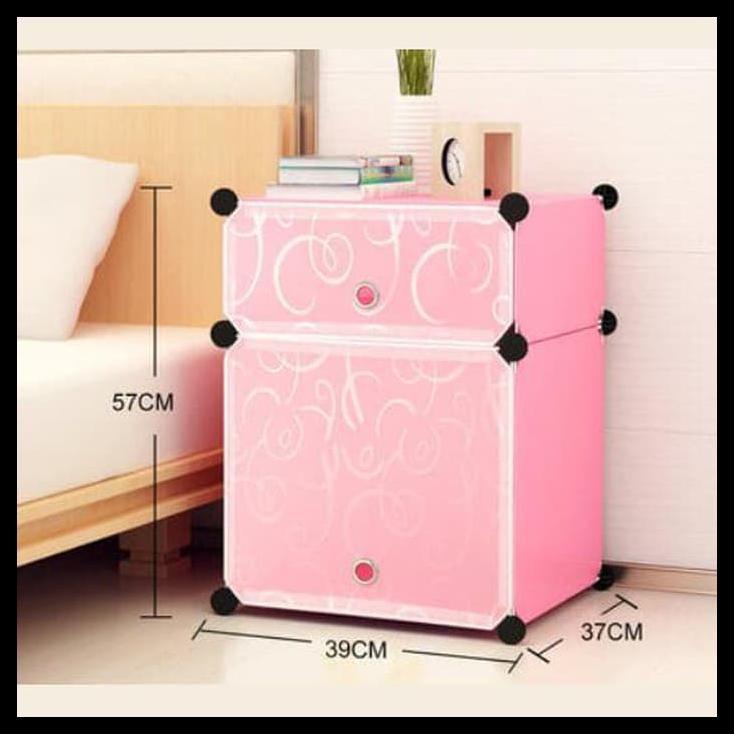Lemari Rakit 2 Kotak Motif Karakter / Bedside Table Rak Meja Samping Ranjang Portable Serbaguna | Shopee Indonesia