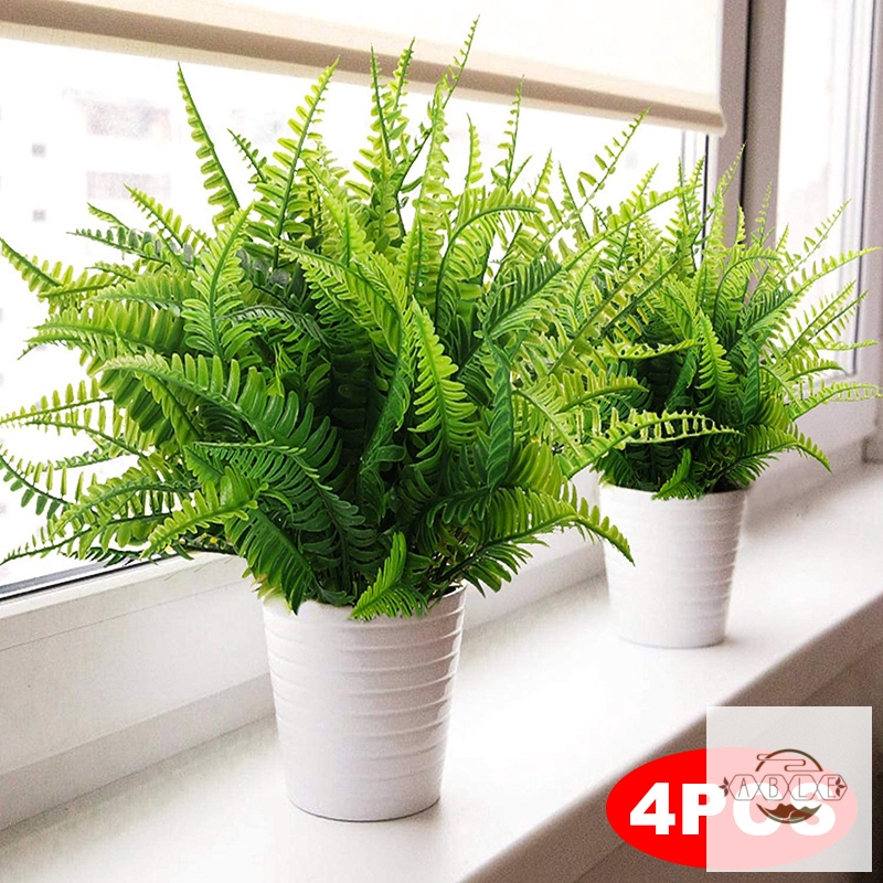 4pcs Artificial Boston Fern Plants Plastic Artificial Shrubs Greenery For House Outdoor Garden Office Decor Shopee Indonesia