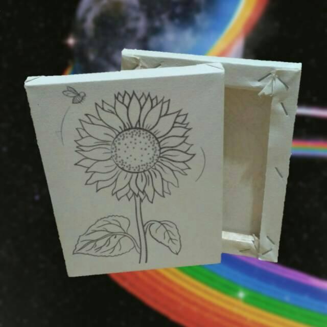 Kanvas Lukis Sketsa Bunga Matahari Mewarnai Ukuran 20x15cm Siap Pakai Shopee Indonesia