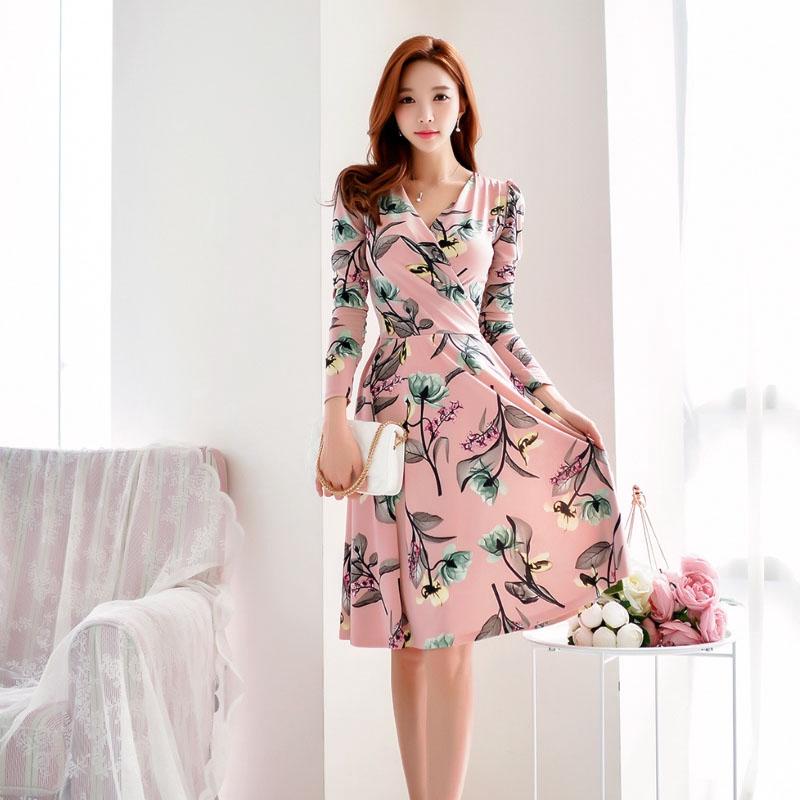 Korea Women Night Club Party Dresses Floral Three Quarter Slim Waist A Line V Neck Knee Length Shopee Indonesia