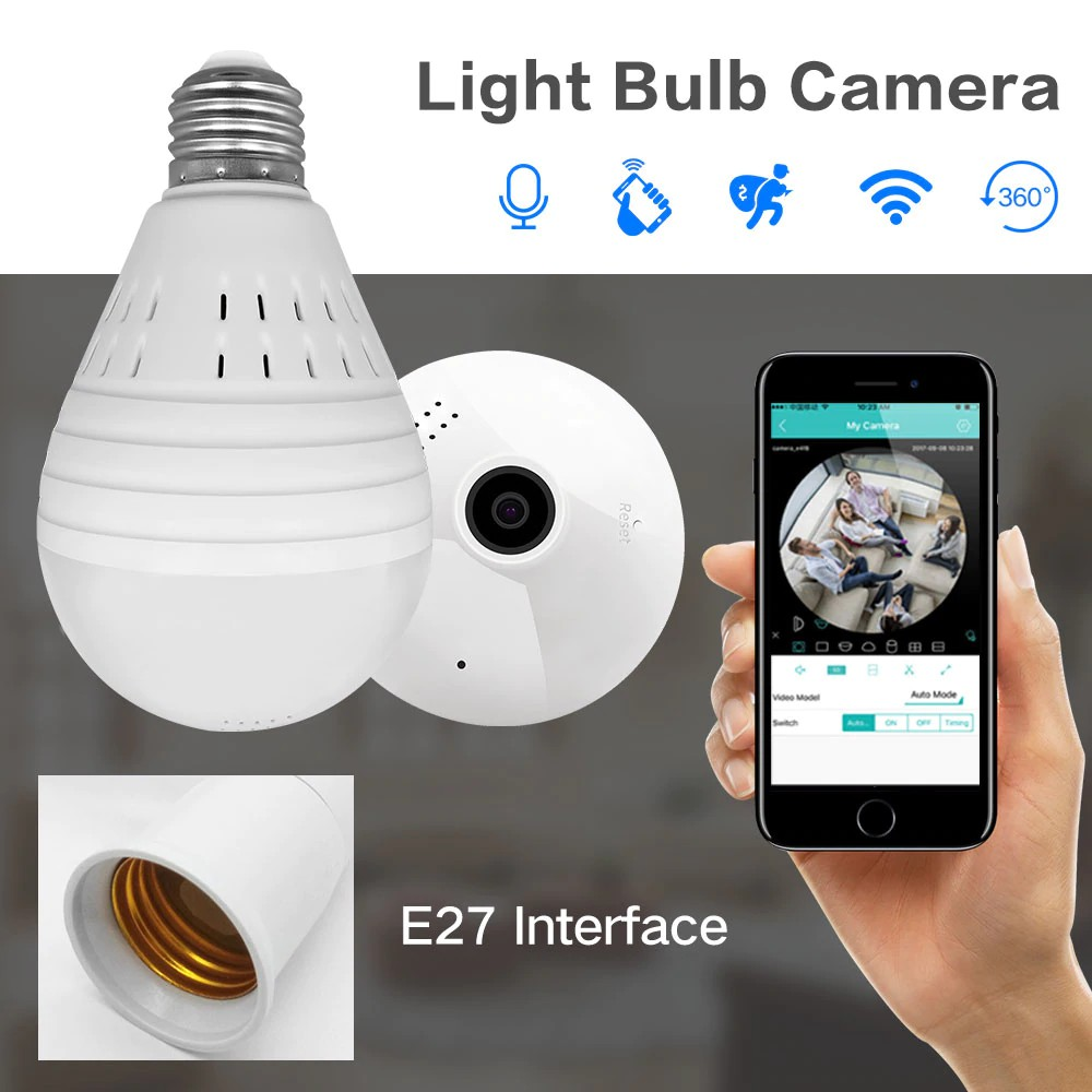 Panoramic Bulb Camera Wireless IP Cameras Wi-fi FishEye 960P Led Lighting V380