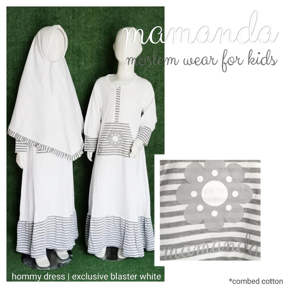 Gamis Anak Blaster White Hommy Dress Exclusive by Mamanda