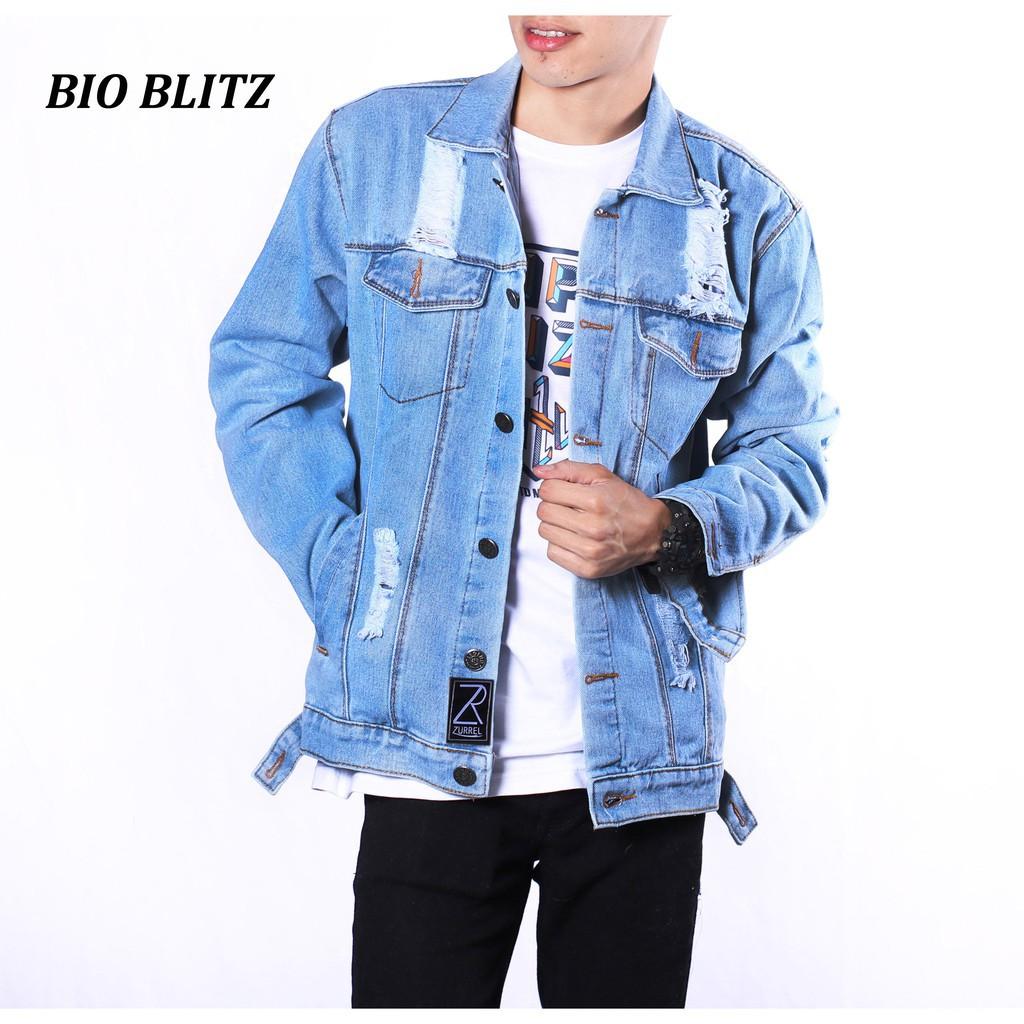 Zurrel Jaket Jeans Premium Destroy Bio Blitz Shopee Indonesia Baseball Karlit Fleece Button