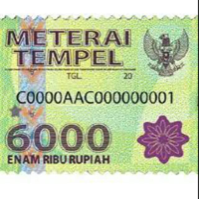 Surat Garansi Produk: Materai 6000 ASLI....100%