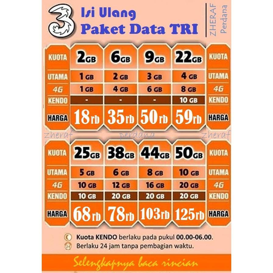 Isi Ulang Paket Data Tri Voucher Kuota 2gb 3gb 4gb 6gb 12gb Kartu Aon 1gb 24gb 44gb 50gb 70gb 66gb 33gb Shopee Indonesia