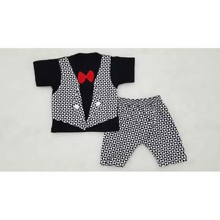 aq882 Baju Setelan Anak Bayi Laki Laki Tuxedo Jas Rompi Dasi 3D