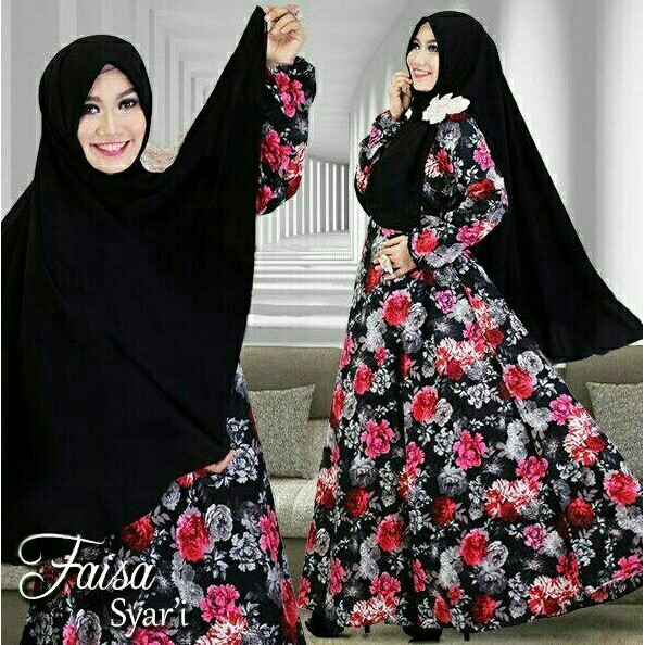 Baju Gamis Muslim Pesta Wisuda Lebaran Syari Remaja 11081 SYARI FAISA BLACK   d84c24a64d