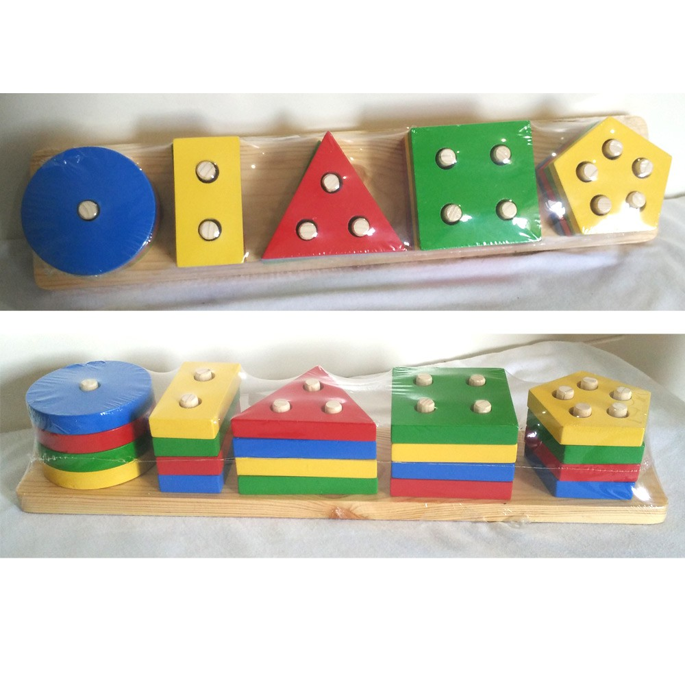Mainan Kayu Balok Susun Ring Donat Wooden Toy Edukasi Rainbow Tower Menara Pelangi Shopee Indonesia