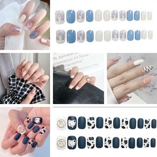 24pcs Hit Color False Nails Cute Summer Style Fake Nails Jelly Finger Nail Press On Nails Manicure Decoration Nail With Glue R thumbnail