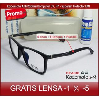 Frame Kacamata Hugo Boss + Lensa Minus Baca Frame Pria Wanita Kacamata  Hitam Minus Korea 6d23f62769