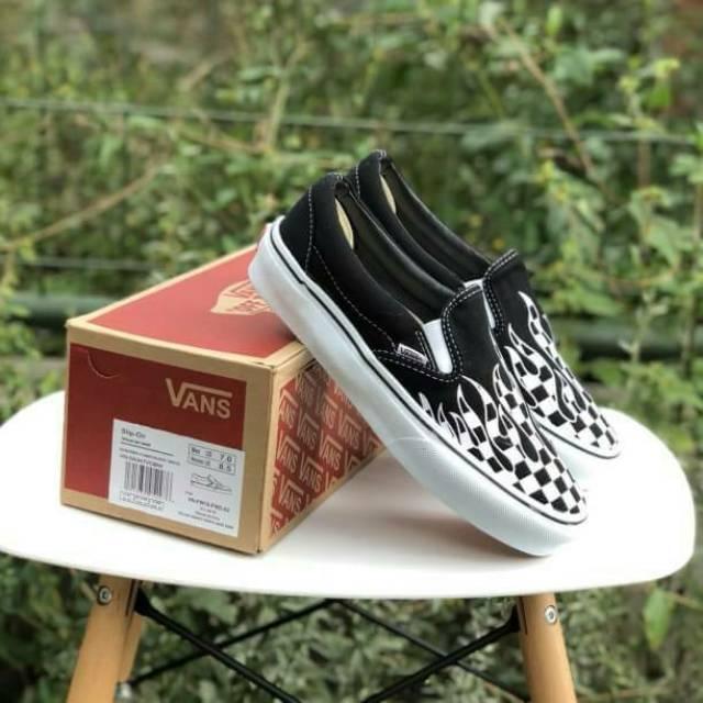 Promo Sepatu Vans Slip On Checkerboard Catur Slipon Stockholm Black ... dfd077b880