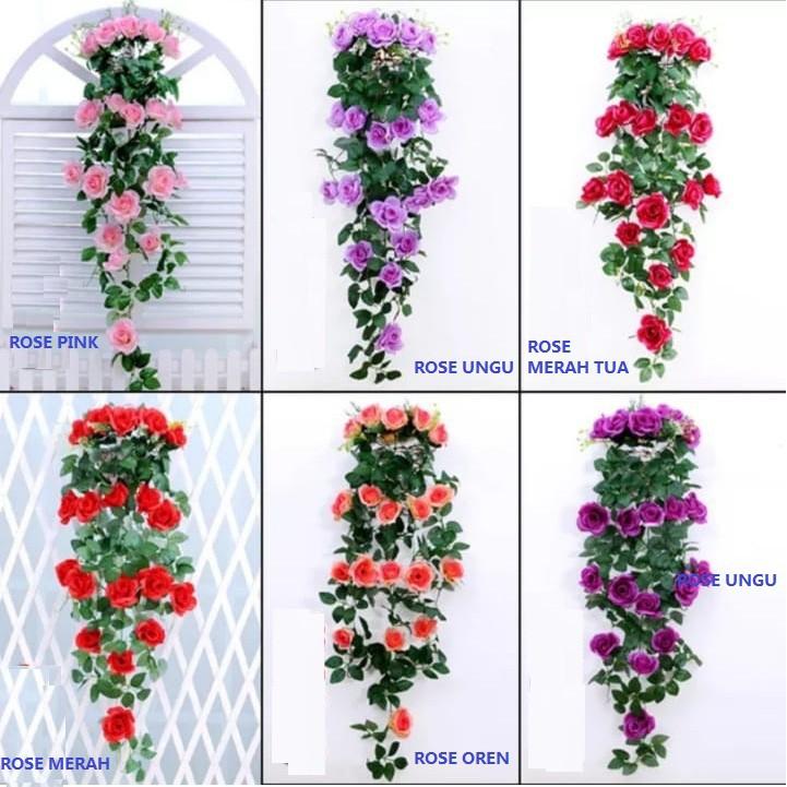 Bunga Gantung Rose Merambat Bunga Jalar Bunga Artifisial Bunga Plastik Bunga Rose Shopee Indonesia