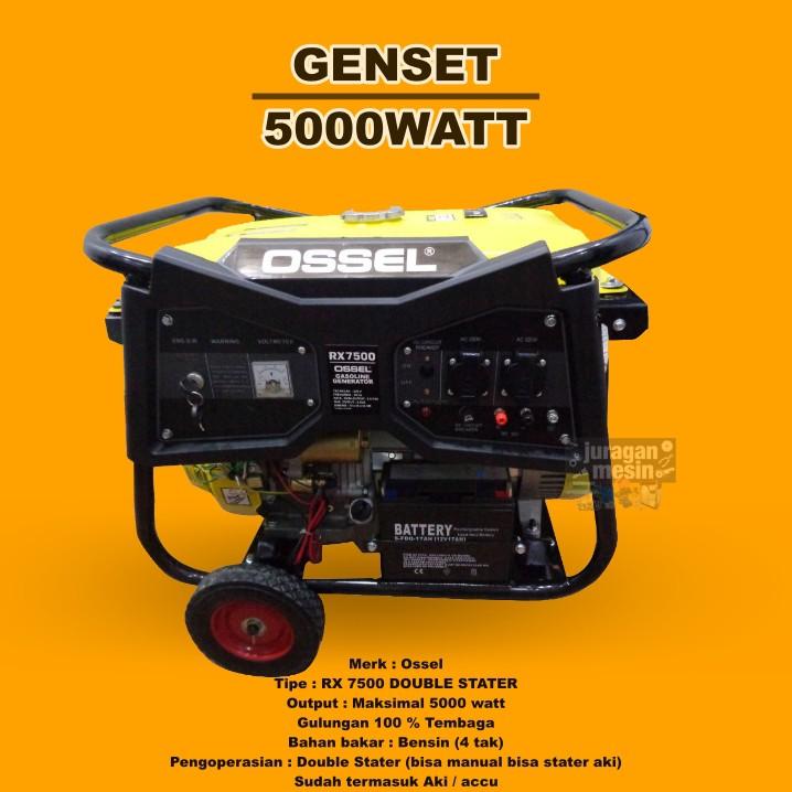 GENSET 5000WATT GENSET 5000 WATT GENERATOR 5000 WATT GENSET GX 7500 OSSEL