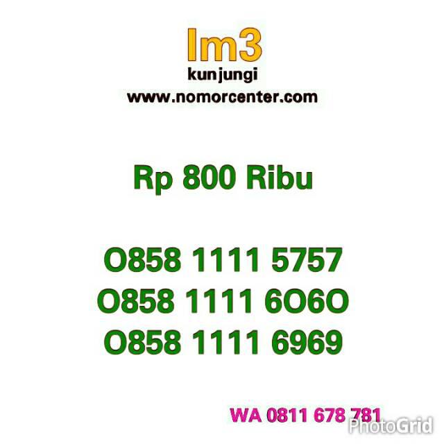 Nomor Cantik Im3 Kartu Perdana Indosat Im3 Seri Angka Rapih Pilihan 0857 1 80555 76 |