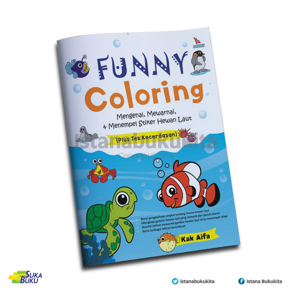 Buku Funny Coloring Mengenal Mewarnai & Menempel Stiker Hewan Laut