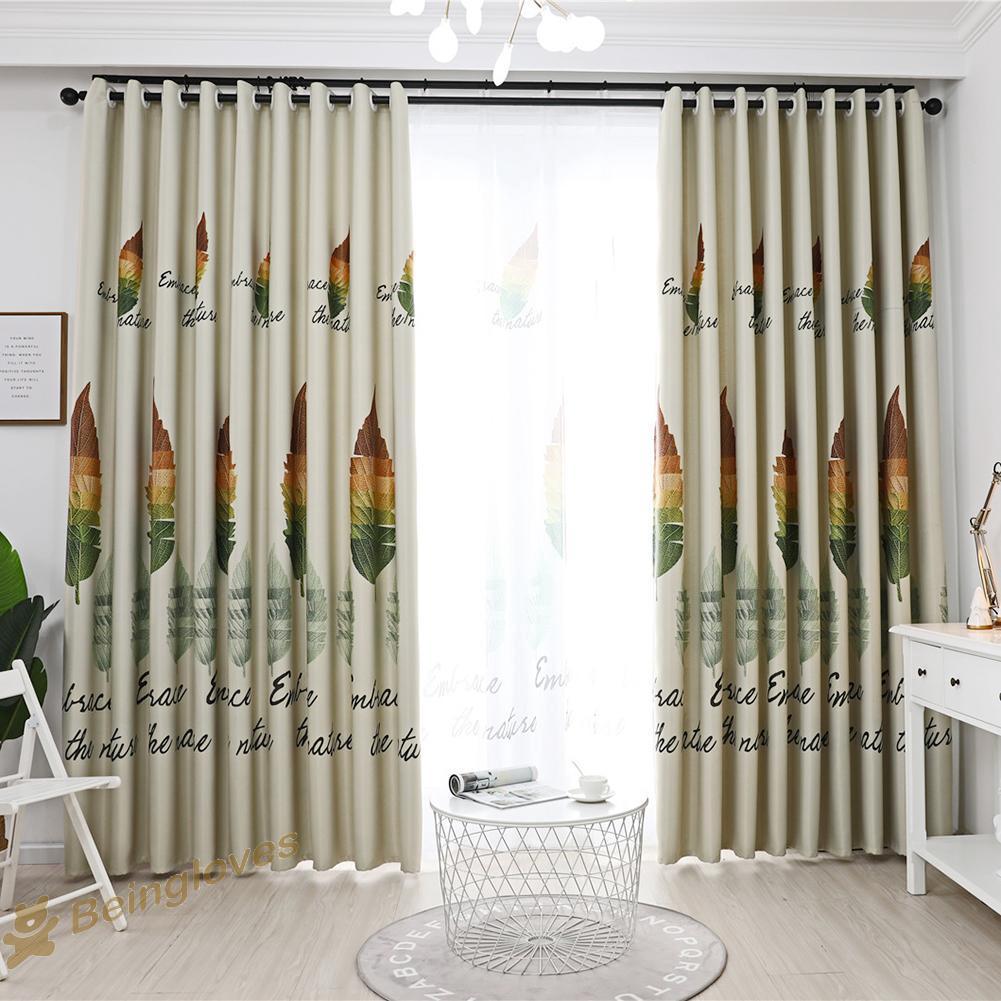 Be 1pc Retro Leaves Print Semi Blackout Curtains Bedroom Windows Decor Drapes Shopee Indonesia