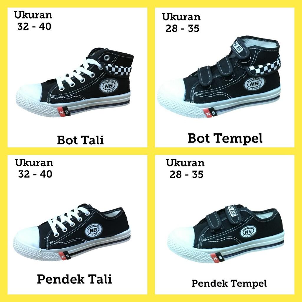 Sepatu anak sekolah SD SMP SMA NB warna hitam boot tali ORI murah ... 5cf020c9fe