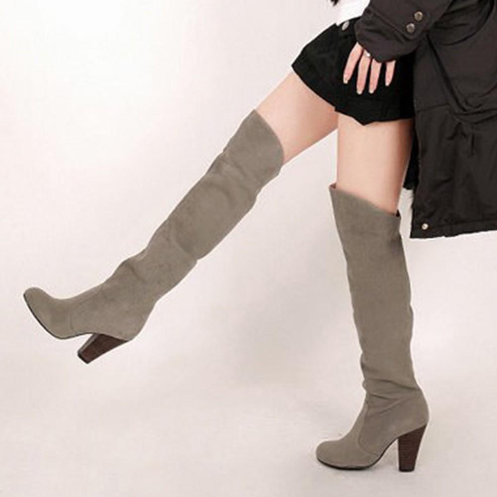 Sepatu Wanita Model Bot Panjang Berhak Tinggi Selutut Shopee