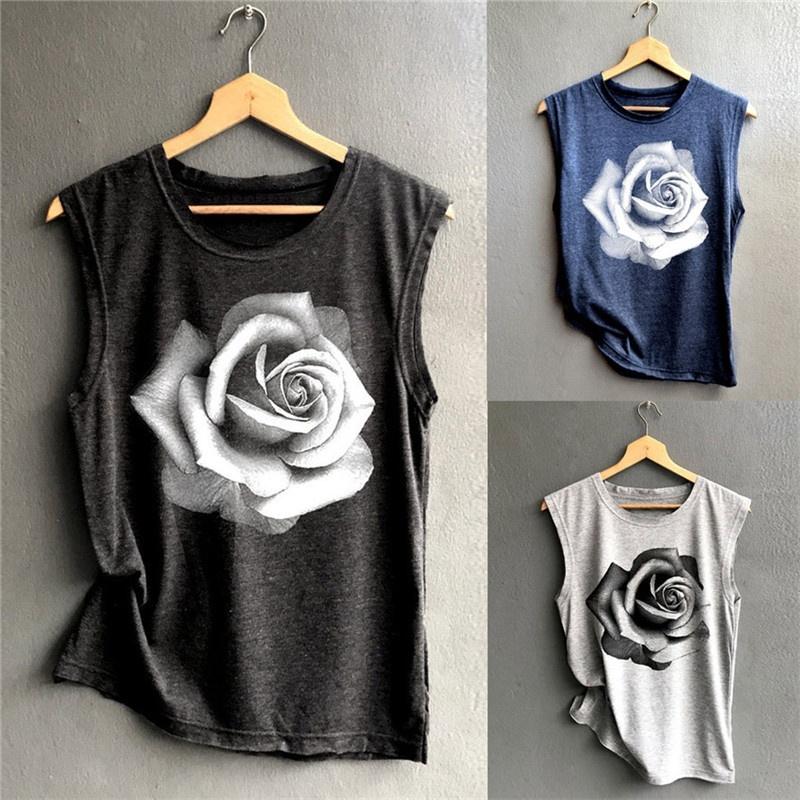Summer Fashion Rose Pattern Women S Printed Pattern Vest T Shirt Shopee Indonesia