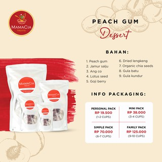 Paket Peach Gum komplit KUALITAS SUPER GRADE A+ / tao jiao / Mamacia Treats SIMPLE PACK