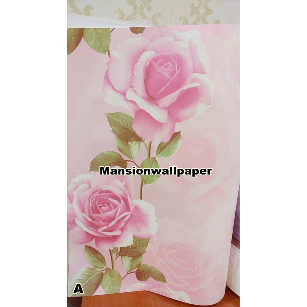 Wallpaper Dinding Bunga Mawar Besar 3D Eksklusif