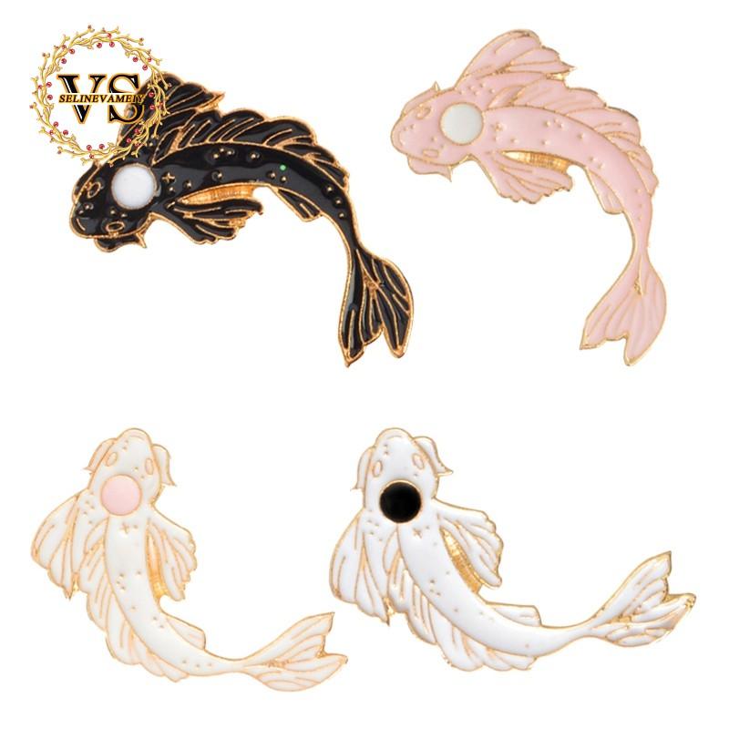 2pcs Yin Yang Bros Bentuk Ikan Koi Hitam Putih Pink Xz1321 Xz1323 Shopee Indonesia