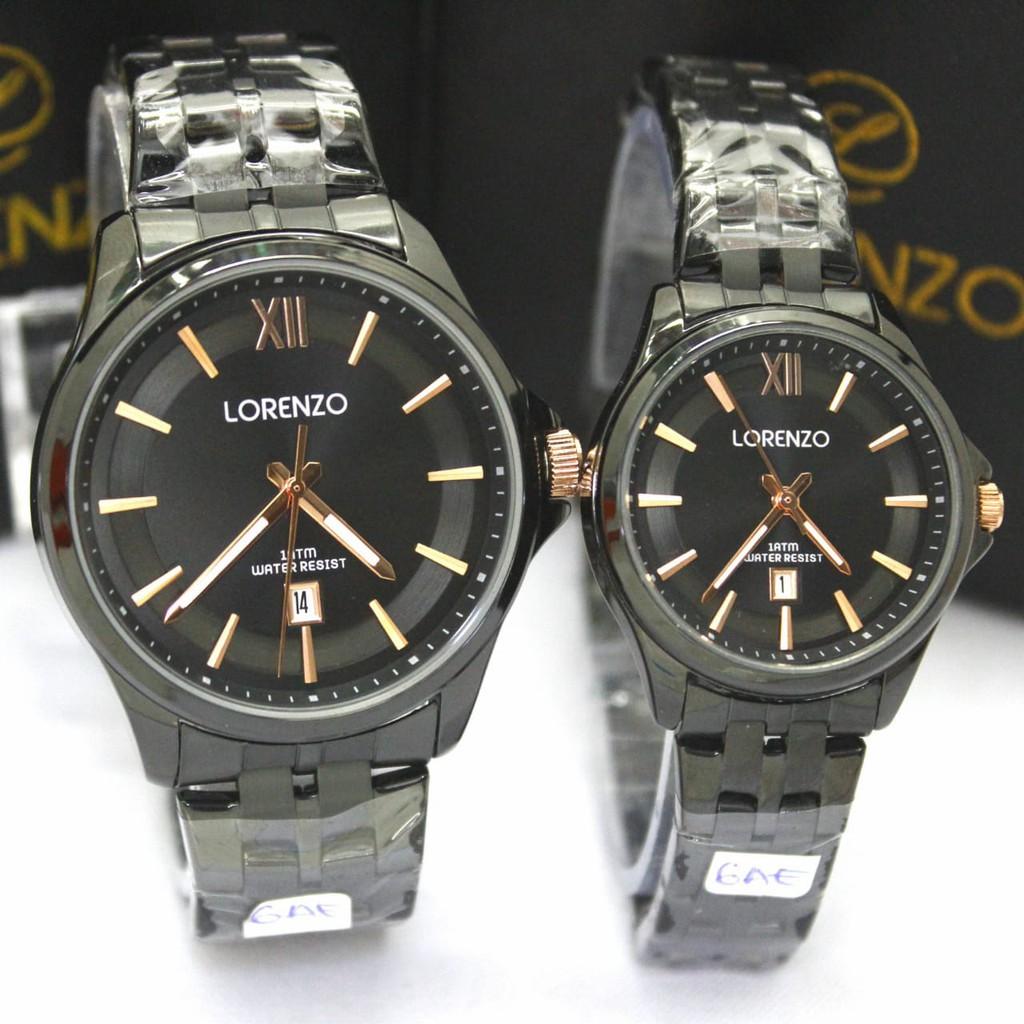 Lorenzo 1064 - Jam Tangan Couple - Stainless Steel Strap - Analoge Watch - Anti Air