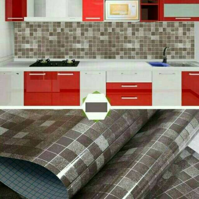 Wallpaper Dinding Dapur Kamar Mandi Coklat Kotak Minimalis Elegan Murah