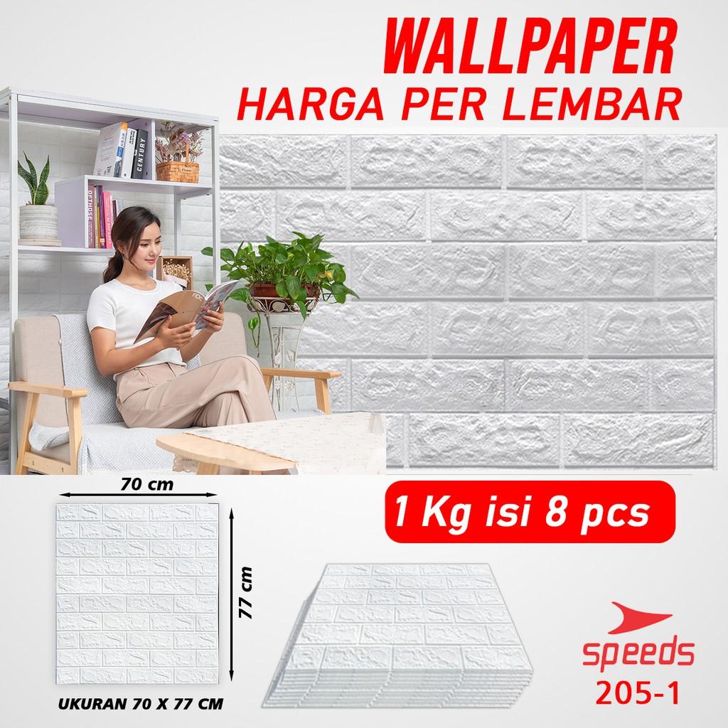 Perekat Wallpaper 3d Stiker Dinding Hiasan Putih Bata