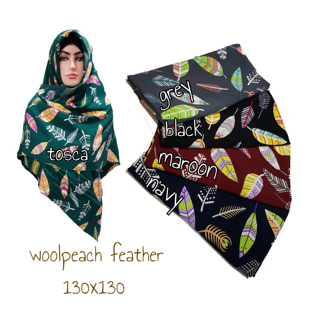 Jilbab Syar'i Wolfis Motif 130x130 / Woolpeach Feather
