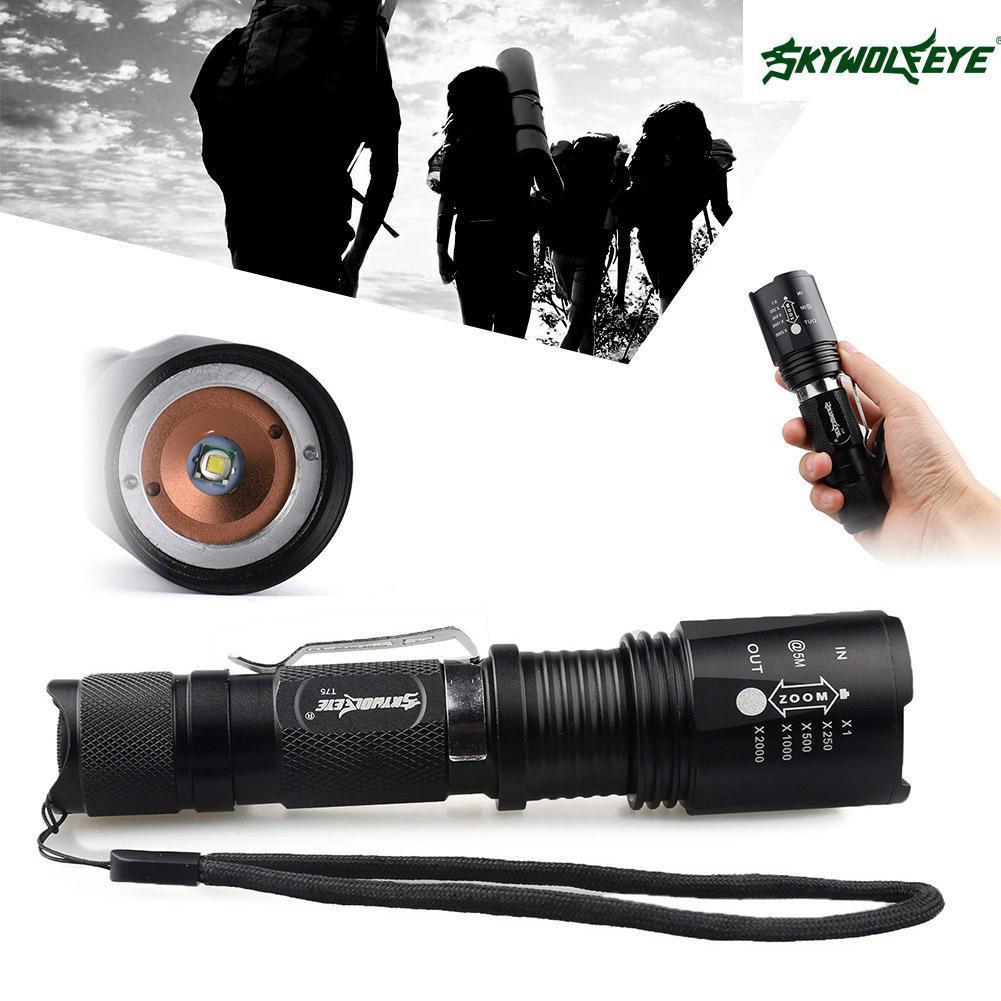 Bayar Di Tempatskywolfeye 8000 Senter Lumens Zoom Cree Xml T6 Led Lampu Flashlight Black Paket Hemat 2x18650 Baterai Shopee Indonesia