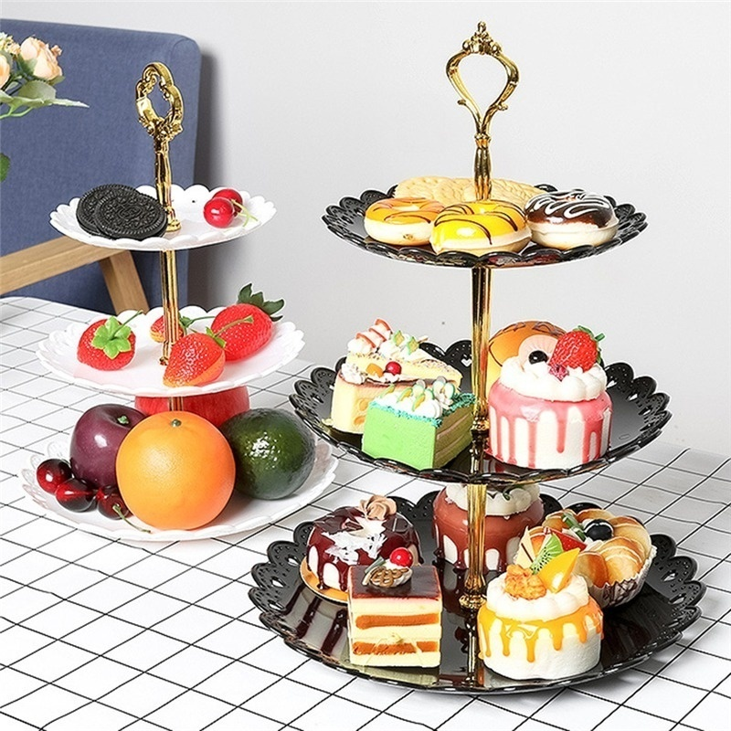 Three Layer Fruit Plate Cake Stand Kitchen Accessories Home Party Dessert Storage Rack Festival Supplies Cupcake Storage Holder Shopee Indonesia