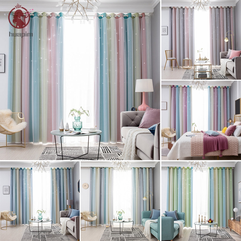 Cod Modern Double Layer Blackout Curtains Star Cutout Window Curtain For Living Room Bedroom Home Decor Shopee Indonesia
