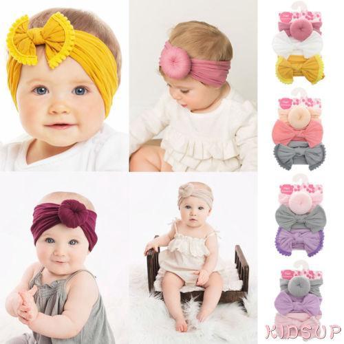Soft Baby Kids Girls Big Bow Knot Headband Hairband Stretch Turban Head Wrap