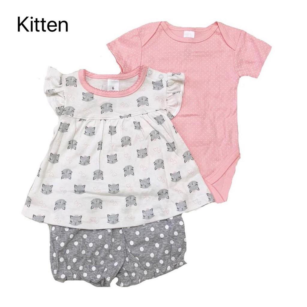 Jumper Bayi 3pcs set motif Flamingo / Kitten