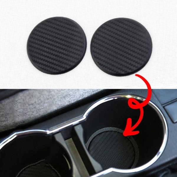 2Pcs//set Car Non-Slip Water Cup Slot Black Carbon Fiber Look Mat Accessories