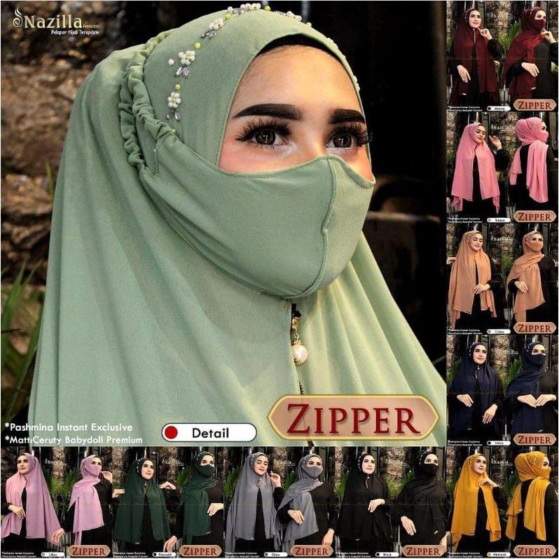 COD - Hijab Pashmina Zipper Payet Bando Free Masker ORI Nazilla Jilbab Pasmina Resleting Model Baru