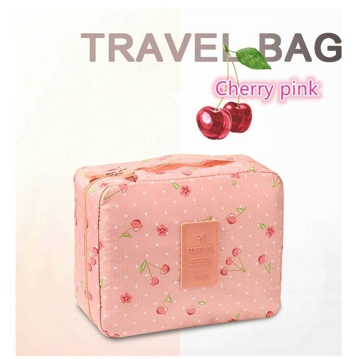 Tas Makeup Kosmetik Travel Bag Traveling Organizer Motif Cherry Pink | Shopee Indonesia